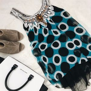 Blue and Black Beaded Lace Flowing Tank Top